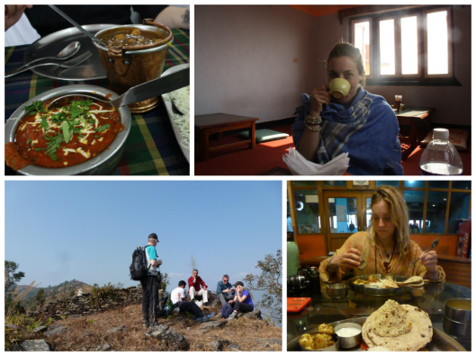 Clockwise from left: The best food in Varanasi, the daily chai in Kathmandu, a thali set in Asi Ghat, Varanasi, and eating yak cheese in a small village outside Pohkara, Nepal.